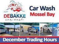 De Bakke Car Wash December Trading Hours