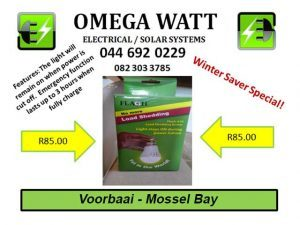 Winter Electricity Saver Special in Mossel Bay