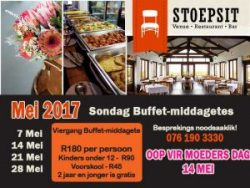 Mei Sondag Buffet-middagetes Vleesbaai Mosselbaai
