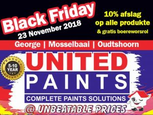 Black Friday United Paints Mosselbaai, George en Oudtshoorn